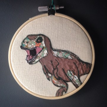 dinosaurs, embroidery, dinosaur embridery, textile art wall hanging, boys room, art for bedroom