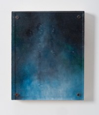 """Proof, 8""""x10"""", oil, magnets, and kiln-glass on board."""