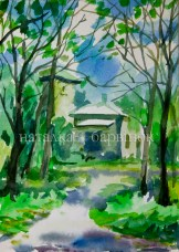 Landscape with house. Watercolor painting