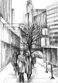 The street in NYC. Gel pen, paper.