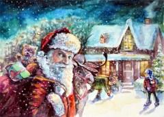 Santa. Watercolor, paper
