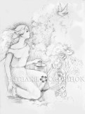 Girl with a wreath on the river. Pencil, paper