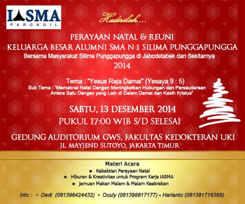 Undangan Perayaan Natal Reuni Keluarga Besar Alumni Sma N 1 Silima