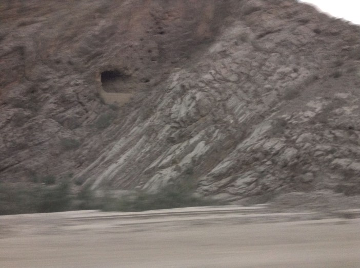 There are caves visible from the road.
