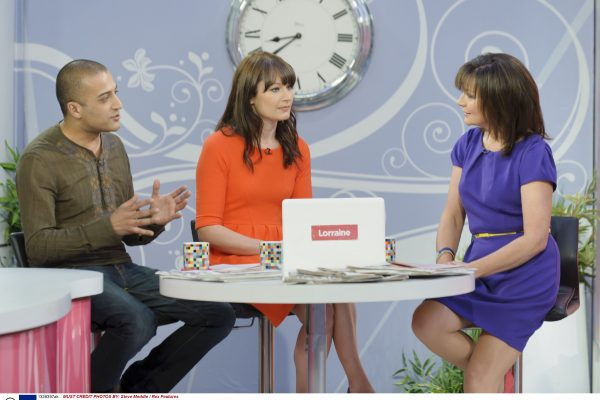 EDITORIAL USE ONLY / NO MERCHANDISING Mandatory Credit: Photo by Steve Meddle / Rex Features ( 1328397ak ) Adil Ray and Natasha Courtenay-Smith with Lorraine Kelly 'Lorraine Live' TV Programme, London, Britain - 24 May 2011