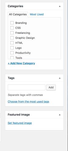 Wordpress blog post-set featured image
