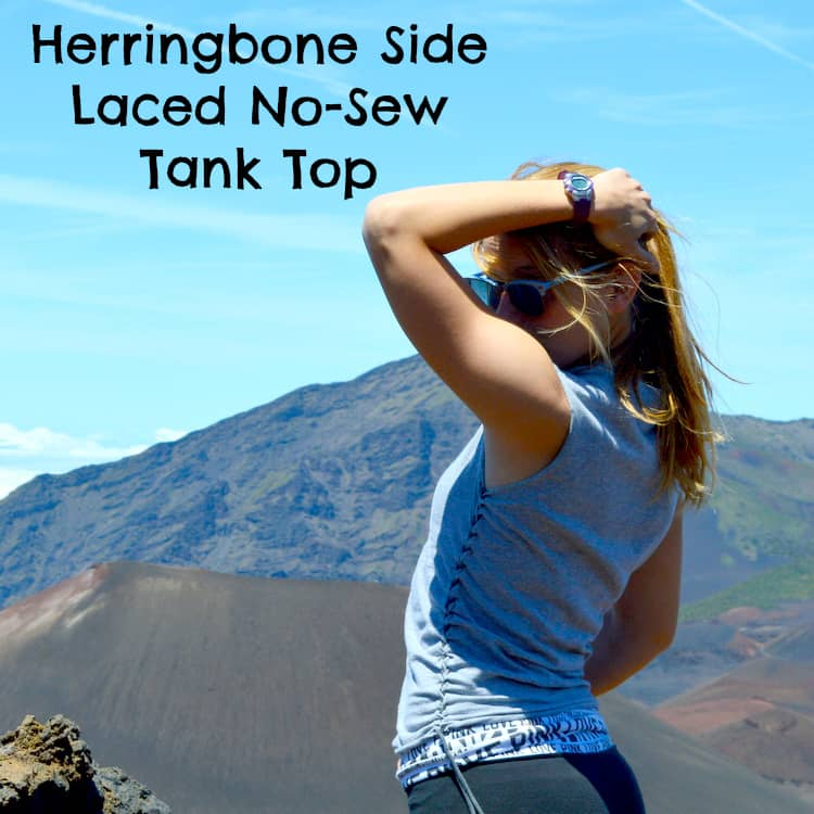 Herringbone Side Laced No-Sew Tank Top