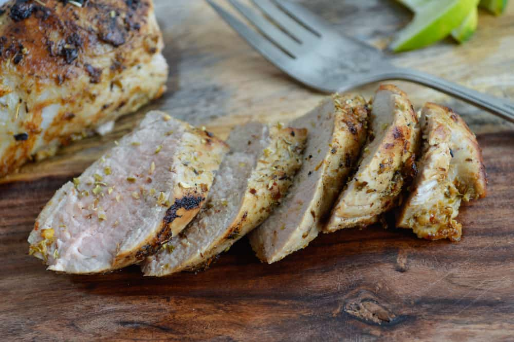 Sliced Roast mojo pork tenderloin