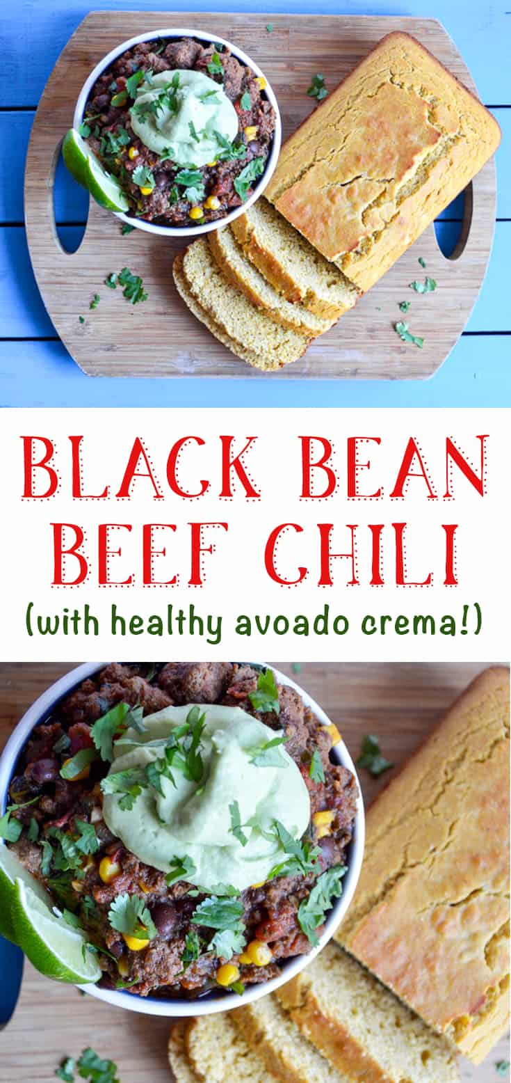 black bean beef chili with healthy avocado crema topping recipe