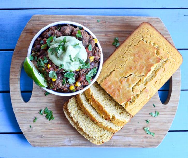 ground beef black bean chili with avocado crema