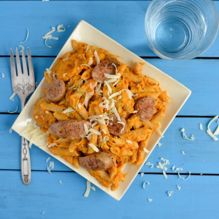 Pumpkin Penne Pasta with Sausage