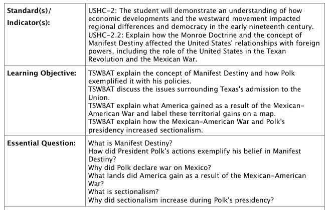 Polk presidency lesson plan