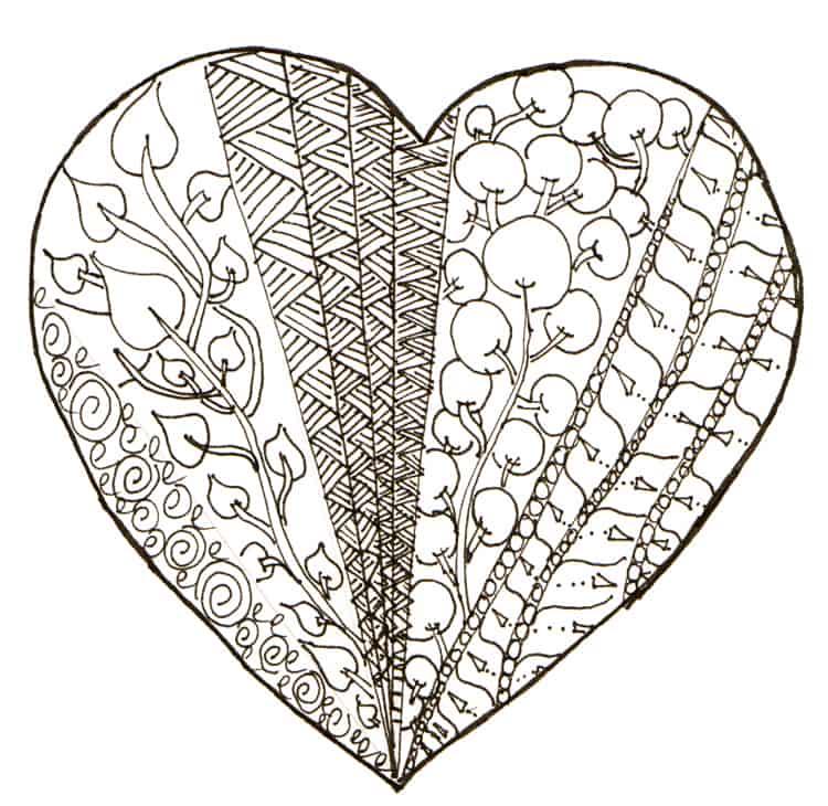 Valentine heart doodle printable 2