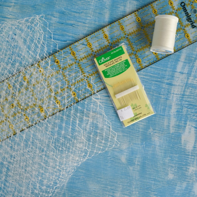 supplies for DIY bandeau veil_