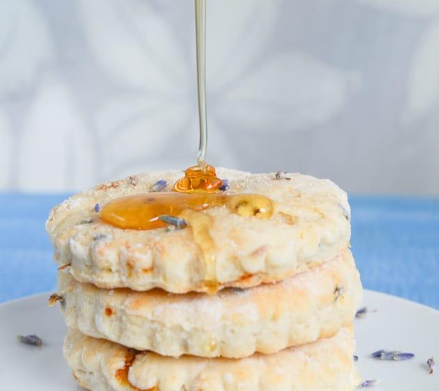 honey topping on lavender scones