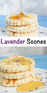 lavender scones recipe. Delicious lavender scones topped with honey.