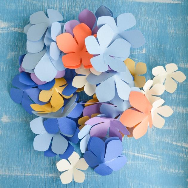 glued paper flowers