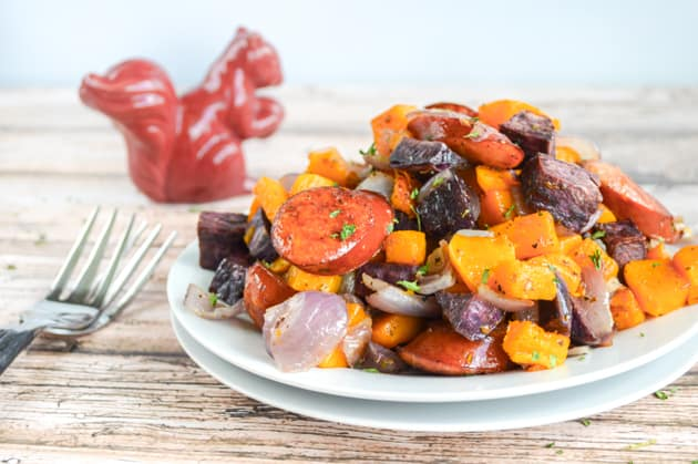 Paleo Oven Roasted Fall Vegetables and Sausage
