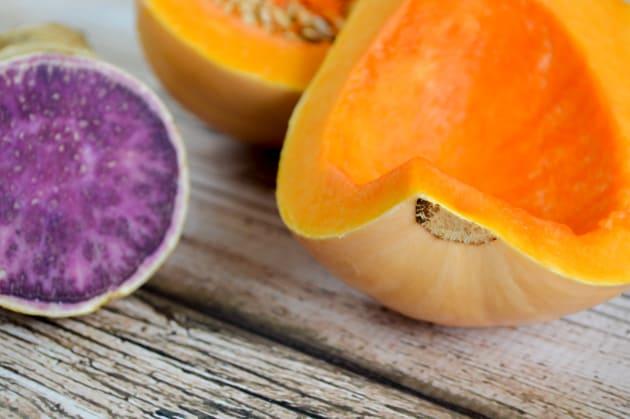 butternut squash and Okinawan sweet potato