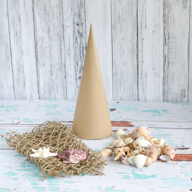 materials for seashell Christmas tree