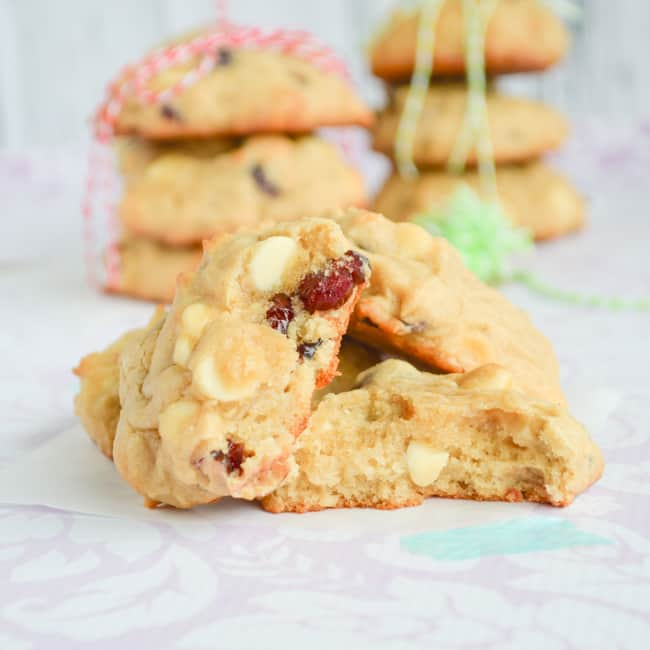 White Chocolate Cranberry cookies with cream cheese