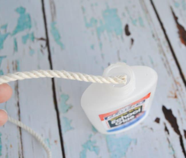 coat rope end in glue