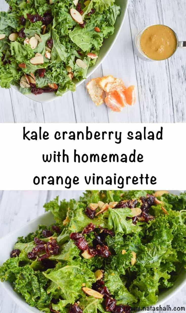 Kale Cranberry Salad with Mandarine Orange Vinaigrette