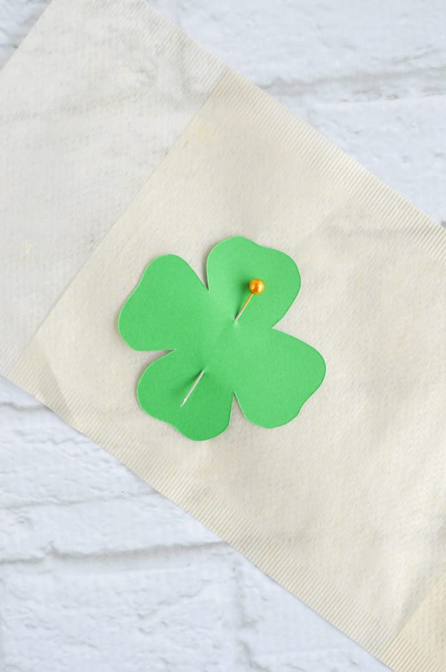 pin shamrock template in place