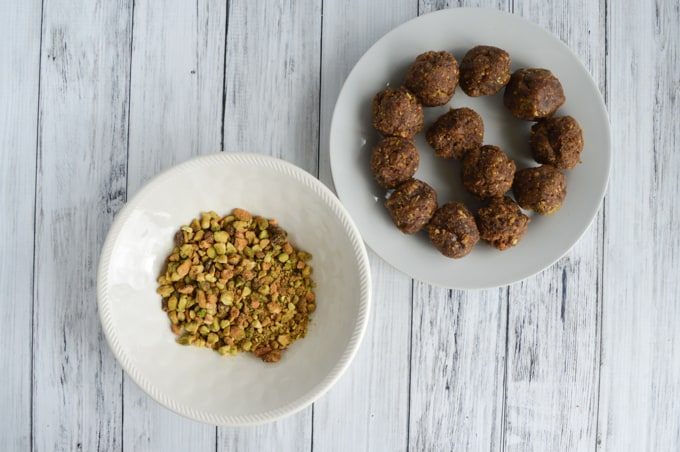 date balls and pistachios
