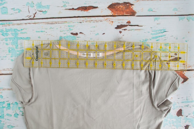 line ruler up with shoulder seams