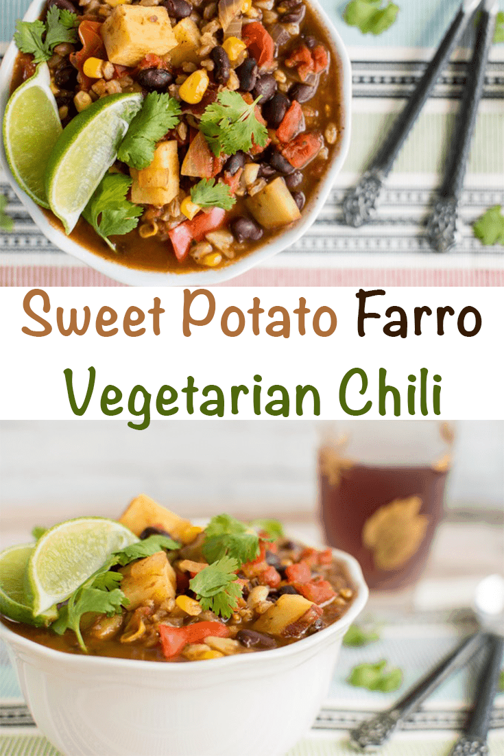 Sweet Potato Black Bean Farro Vegetarian Chili