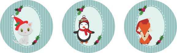 cute holiday animal printable gift tags