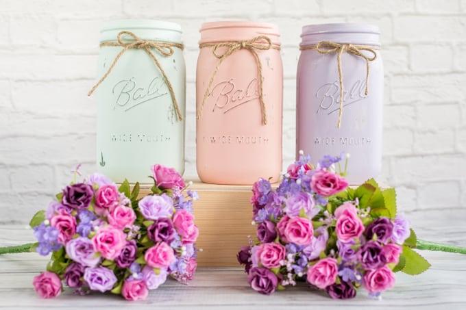mason jars with twine bows