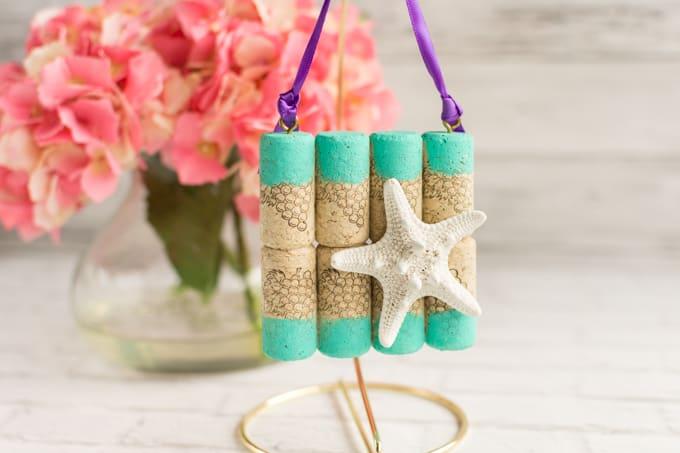 beachy wine cork mini art