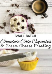 Small Batch Chocolate Chip Cupcakes - Greek Yogurt Cupcakes with Cream Cheese Frosting