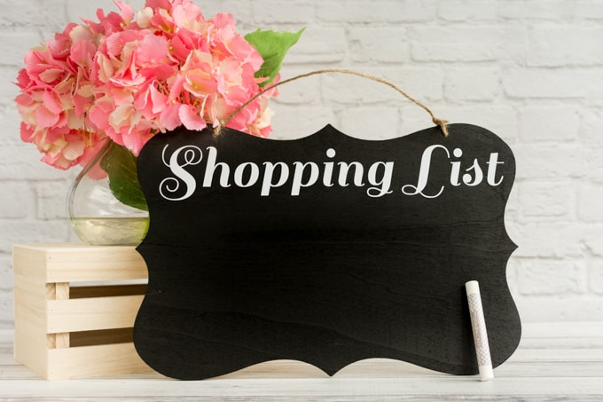 DIY Shopping List chalkboard with Silhouette studio file