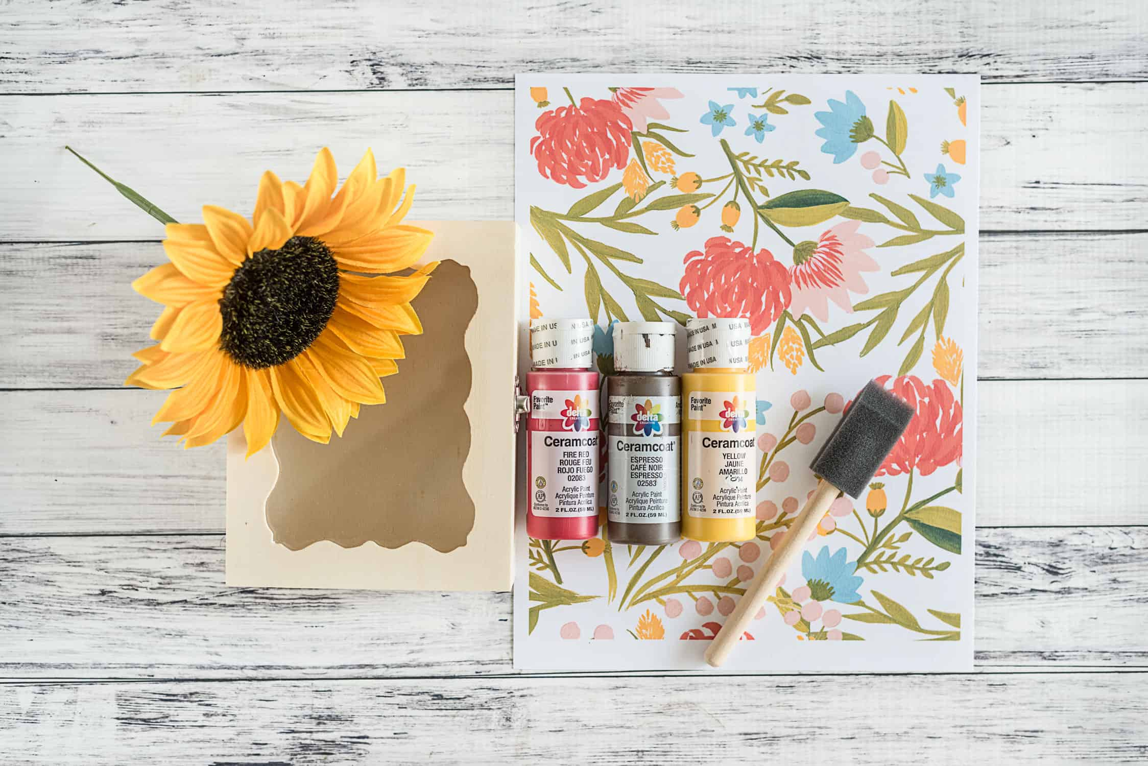 supplies for floral fall shadow box