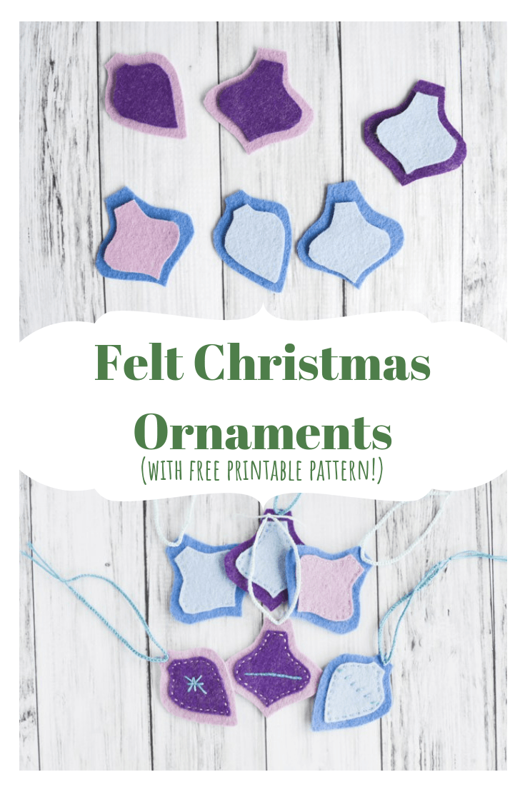 Easy Felt Christmas Ornaments Tutorial with Free Printable Pattern