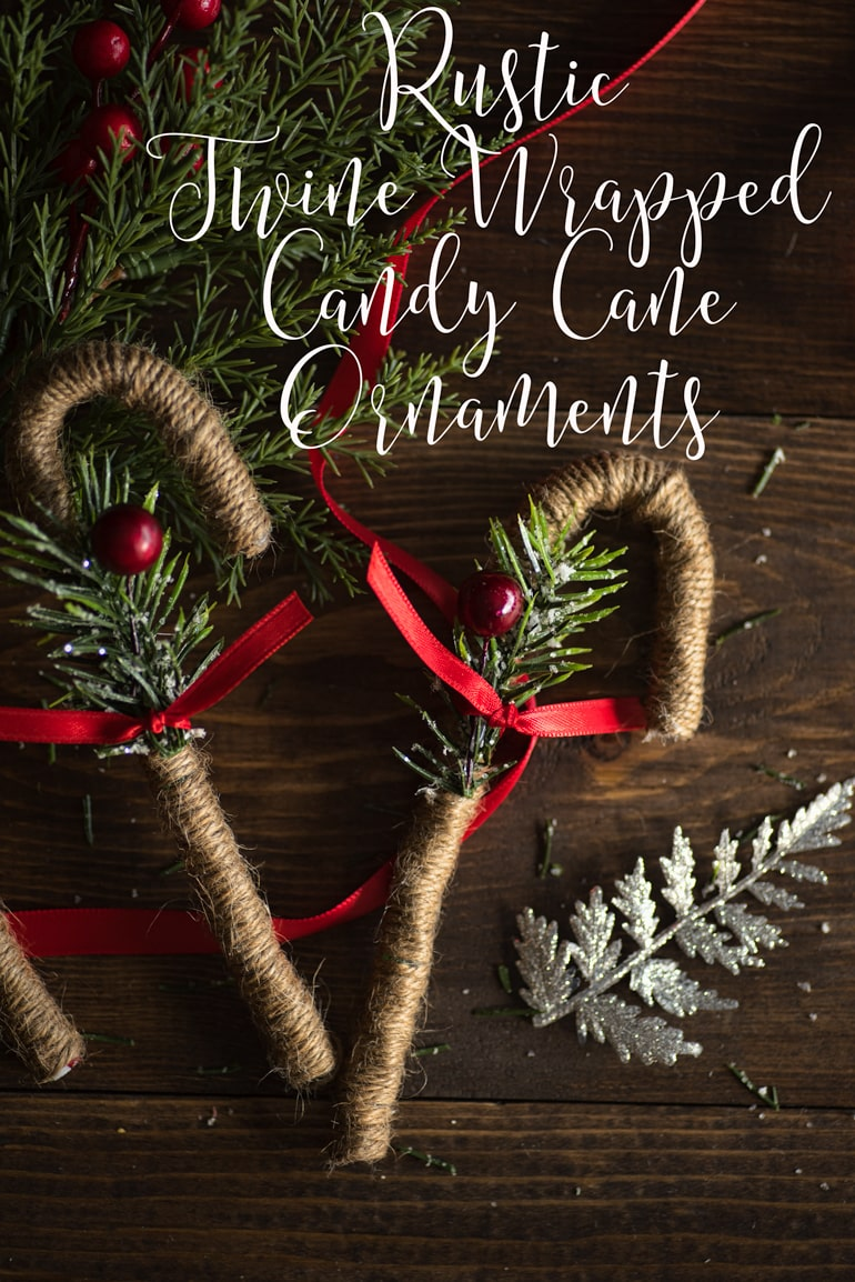 Rustic Twine Wrapped Candy Cane Ornaments  | 50 Awesome DIY Yule Decorations and Craft Ideas You Can Make for the Winter Solstice