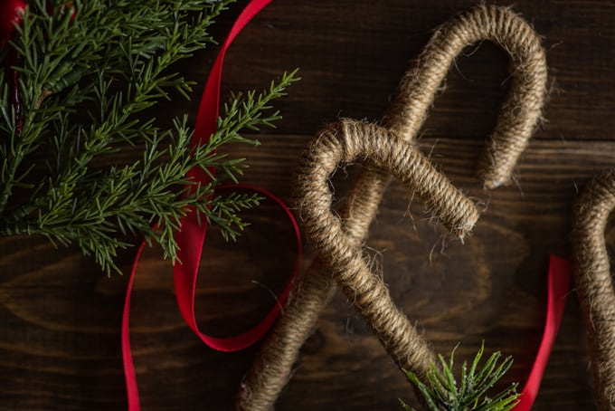 rustic twine wrapped candy canes