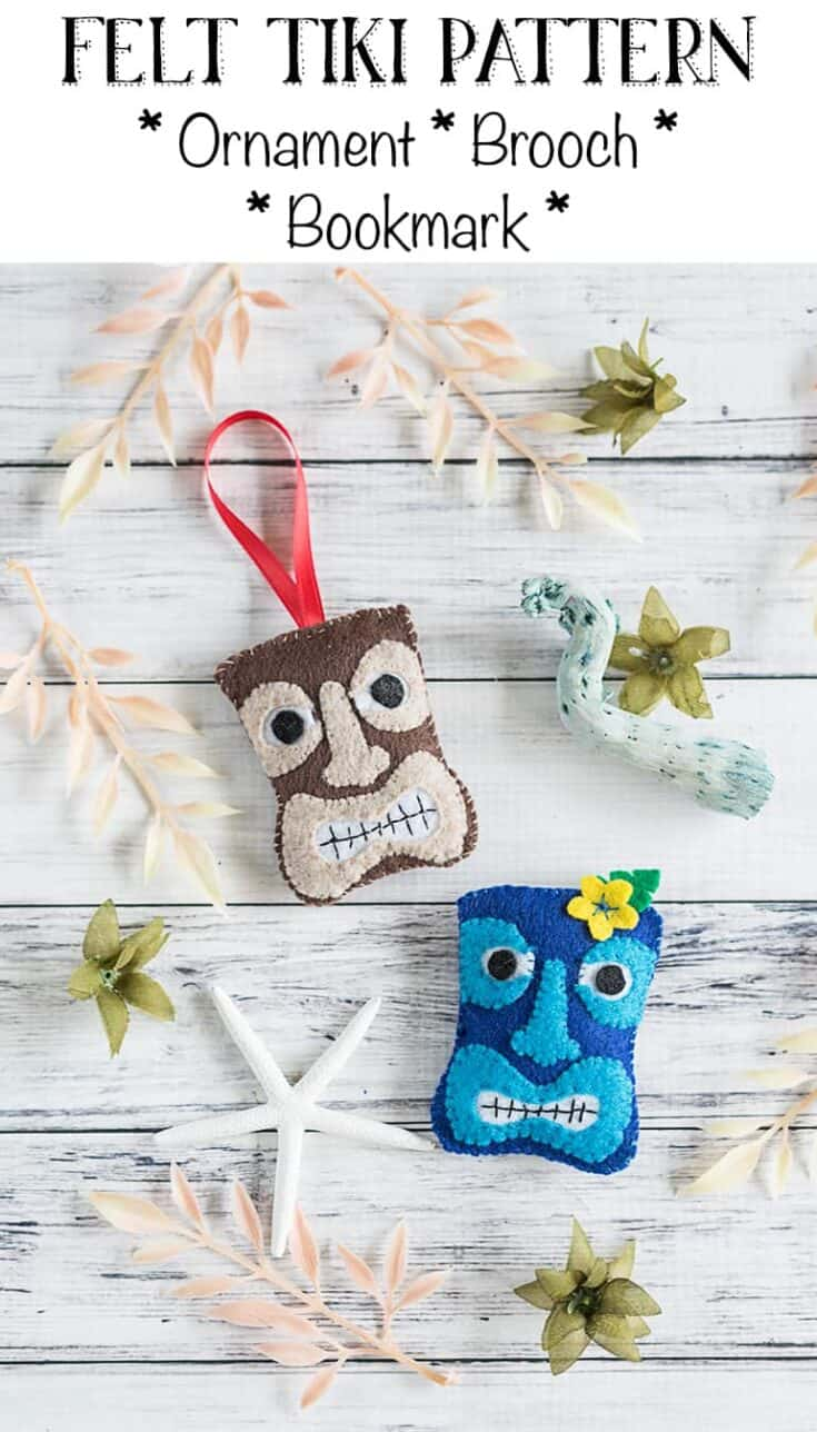 Tiki Felt Ornament Pattern - DIY Felt Tiki Bookmark, Ornament, and Brooch