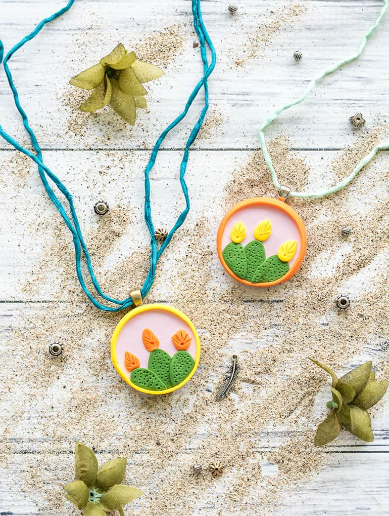 DIY Cactus Necklace with Polymer Clay