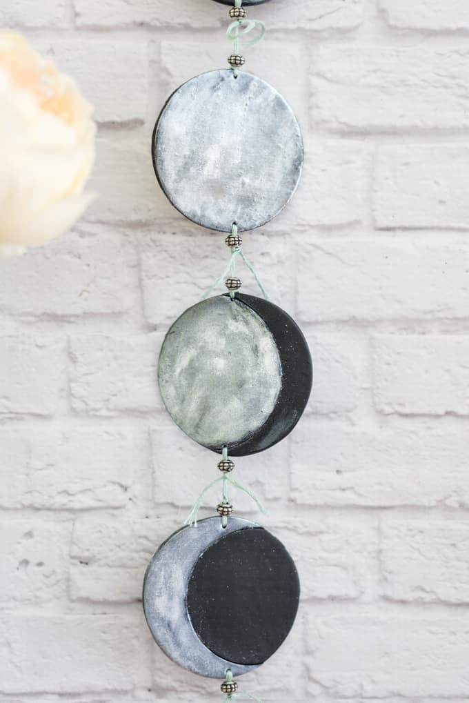 phases of the moon mobile tutorial - tie the moons together