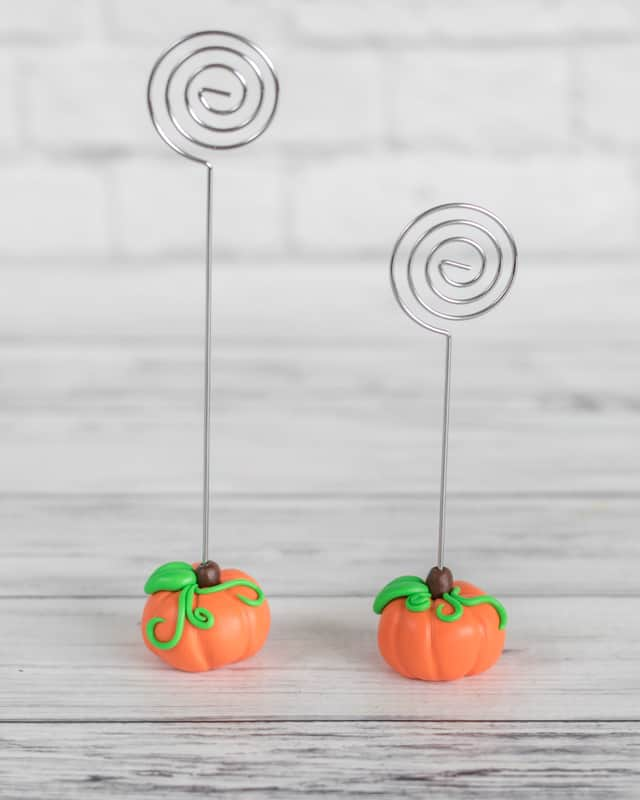 polymer clay pumpkin place card holders for Thanksgiving