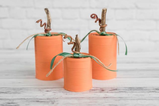 rustic tin can pumpkins