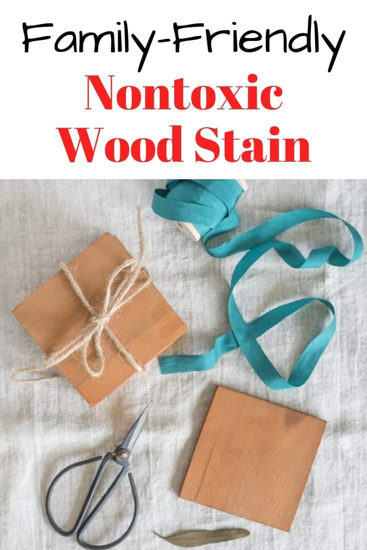 "Homemade wood coasters with caption ""Family-friendly nontoxic wood stain"""