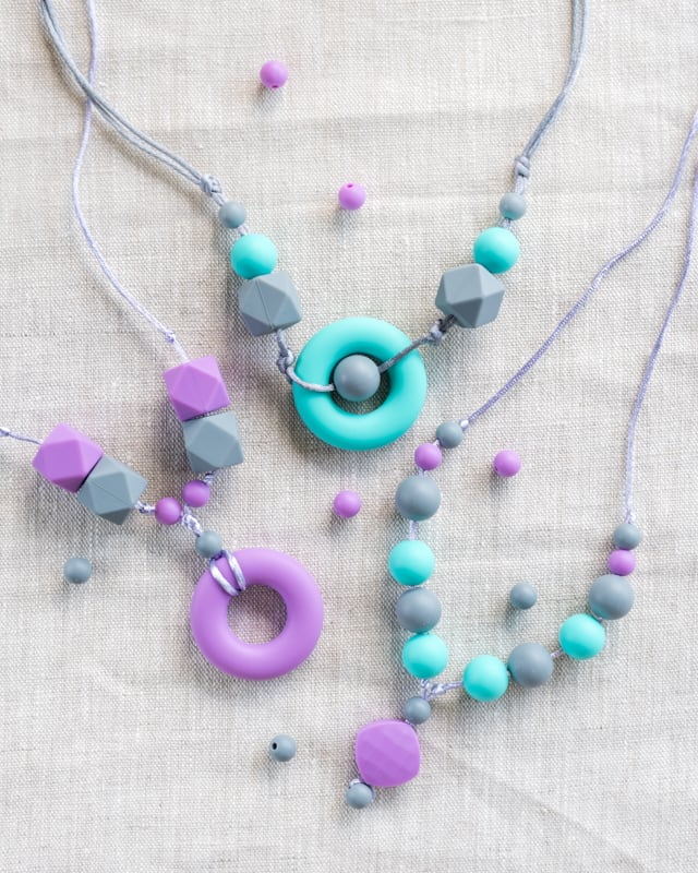 DIY silicone teething necklaces
