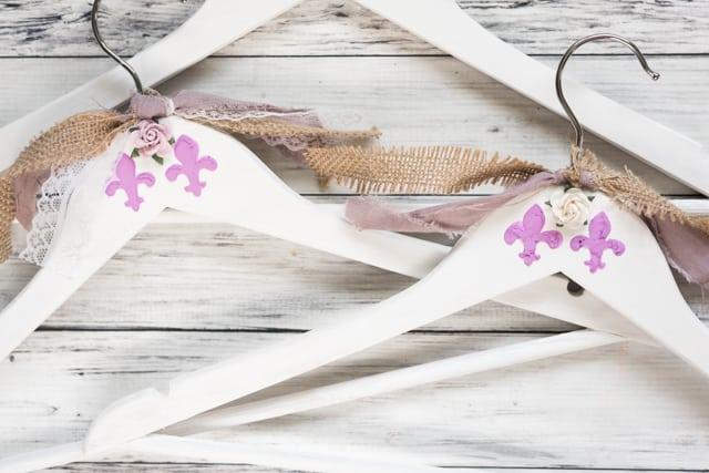 add embellishments to shabby hangers