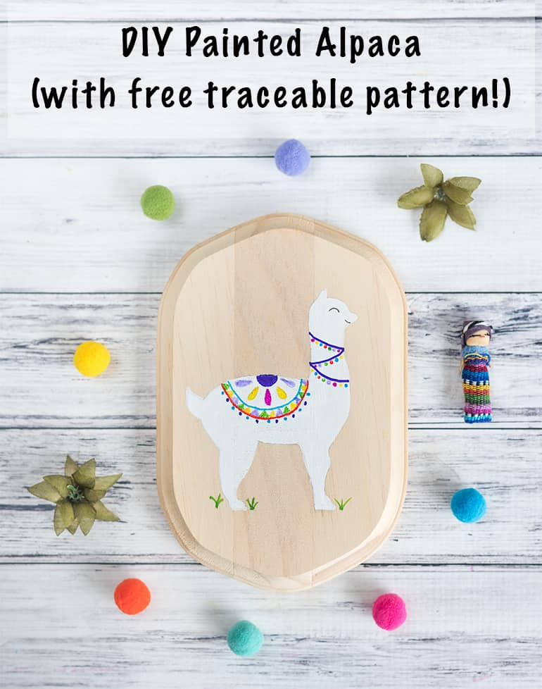 DIY painted alpaca with free traceable pattern