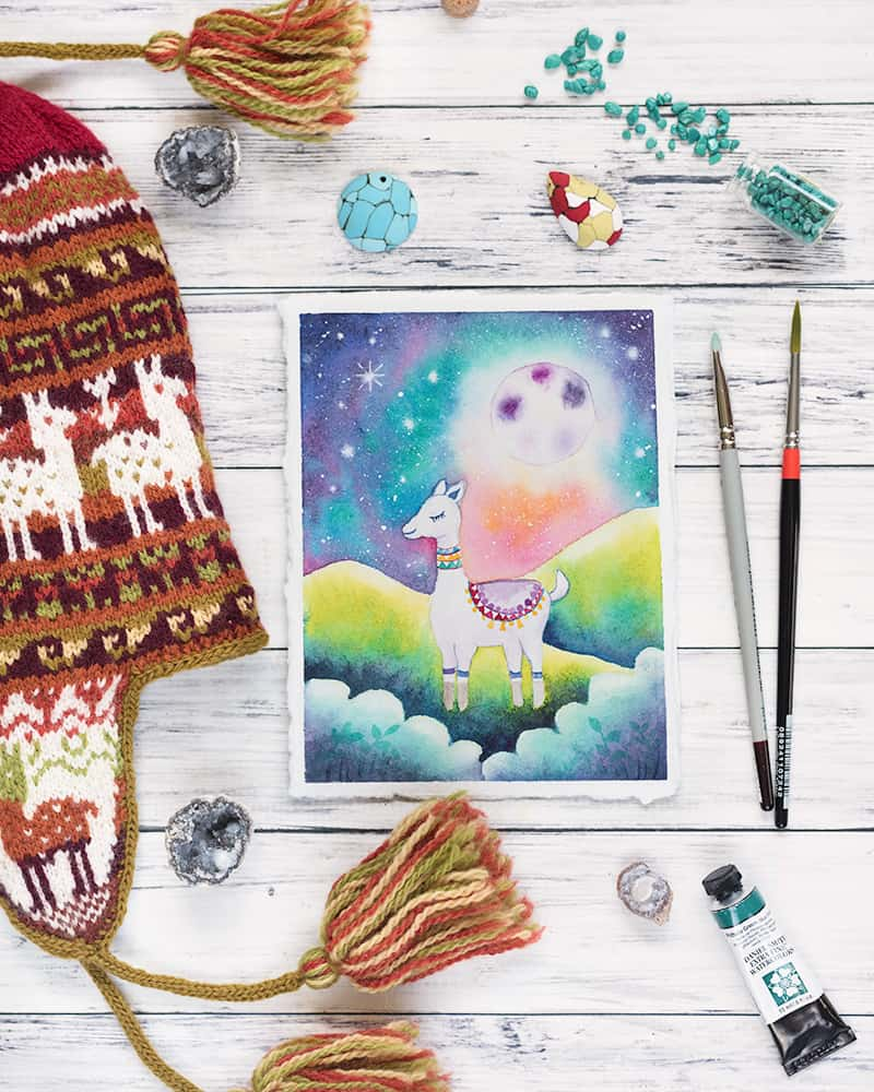 alpaca watercolor painting with knit chullo hat